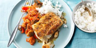 Ratatouille met kruidige kabeljauw en rijst