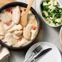 Pangasiusfilet met roomsaus en zoete aardappel