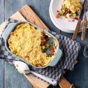 Italiaanse ovenschotel met roerbakmix en aardappelpuree