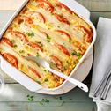 Ovenschotel met witte asperges en tomaat