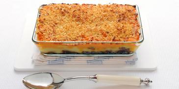 Ovenschotel met wortelpuree en gehakt