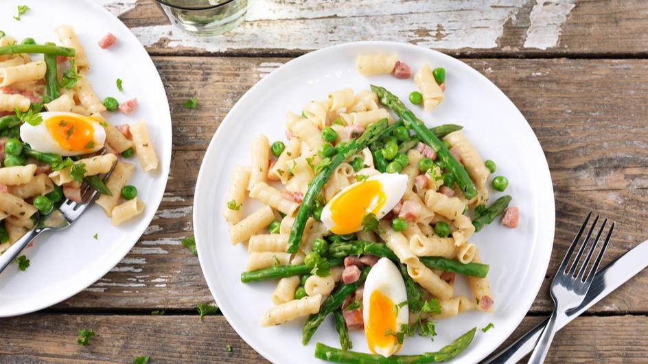Groenten pasta carbonara