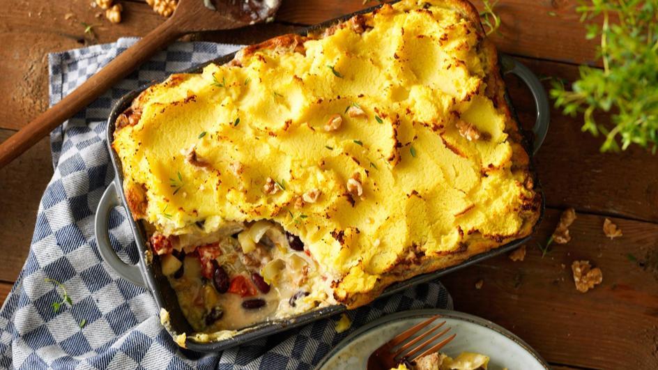 Vegetarische witlof ovenschotel met appel, gorgonzola en walnoten