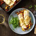 Indiase burrito's met bloemkool, wortelen en linzen