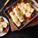 Indiase burrito's met kip, paprika en sugar snaps
