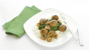 Gehaktballetjes met spinazie en rijst
