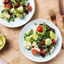 Lauw warme salade met puree kaas