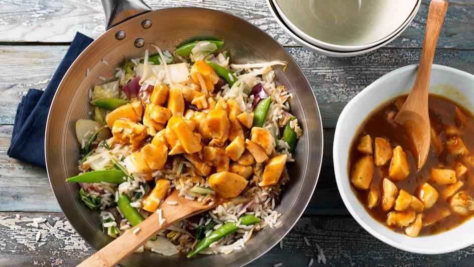 Kipfilet met kipkerrie jus en Oosterse groente