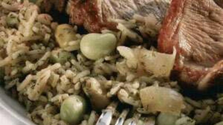 أرز مع الفول واللحم