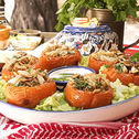 Stuffed Tomatoes with Chicken Freekeh