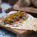 Lamb shawarma with mint and coriander dip