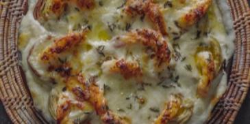 Artichoke and Shrimps Gratin