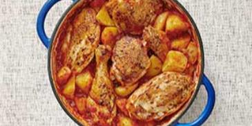 بطاطا مع دجاج بالفرن