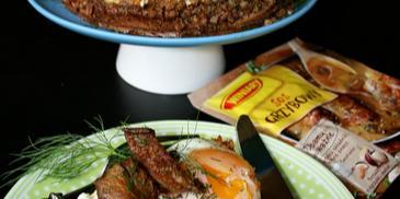 Grzybowa kasza pod kołderką serowo jajeczną z chrupiącymi boczniakami