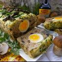 Pieczeń grzybowo - wieprzowa z jajkiem i cukinią