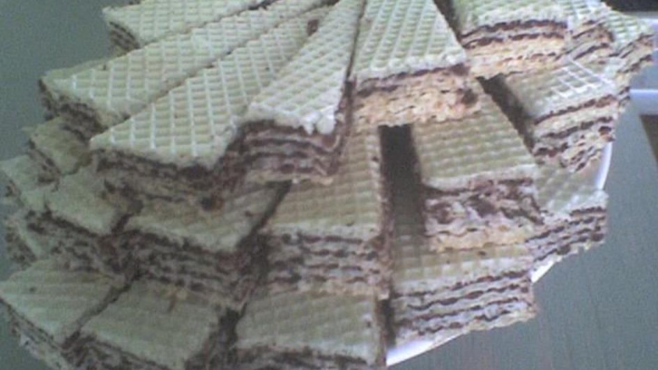Wafle przekładane domowym kremem czekoladowym