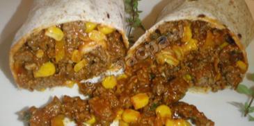 Tortilla z pikantną wołowiną