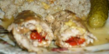 Schabowe roladki z serem i papryką konserwową