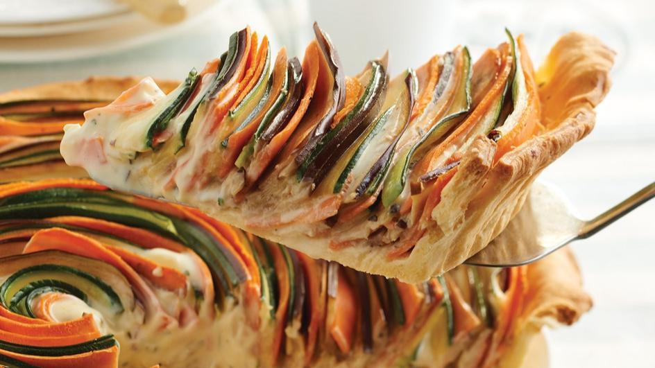 Tarta z cukinią, marchewką i bakłażanem