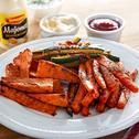 Pieczone frytki z warzyw – marchewki, cukinii i batata