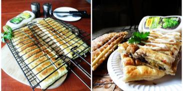 Ciasto Braai Pie z pieczarkami i sosem ziołowym Winiary