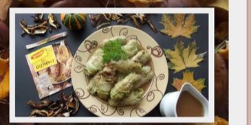 Gołąbki z kapusty pekińskiej z grzybami leśnymi, kaszą jęczmienną i mięsem indyczym w Sosie grzybowym WINIARY