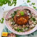 Pieczeń z szynki z kremowym grzybowym sosem