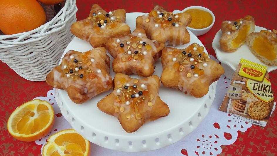 Pączki gwiazdki z kremem dyniowo-pomarańczowym