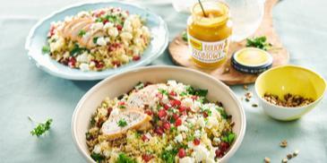 Tabuleh - sałatka z kurczakiem, kuskusem i granatem