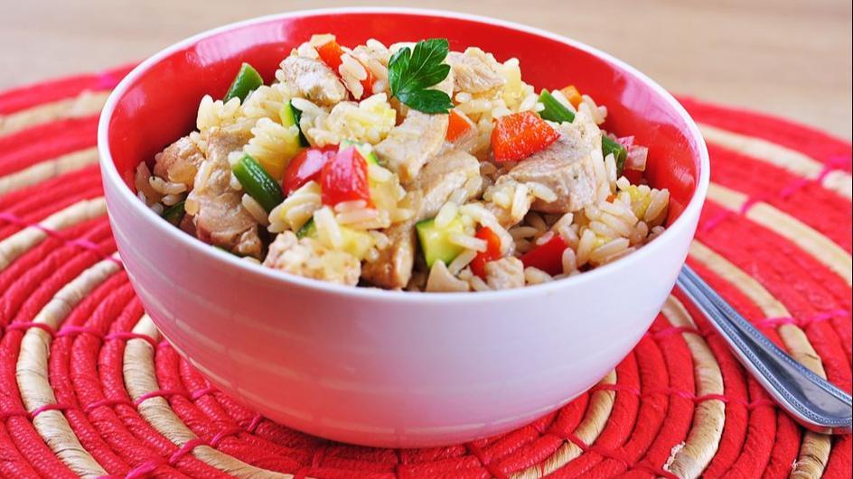 Ryż ze schabem i warzywami