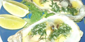 Ostrygi z czosnkiem i koperkiem