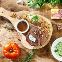 Rozpływający się w ustach stek wołowy z orzechami i gorgonzolą