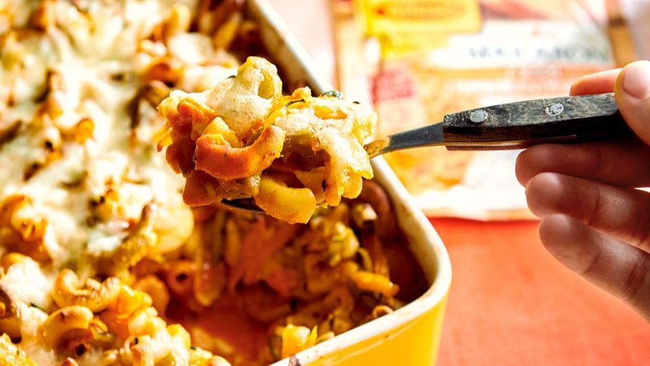 Serowo-warzywna zapiekanka z drobnego makaronu a'la mac'n'cheese