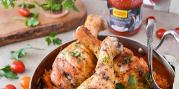 Pałki z kurczaka na pomidorowym risotto