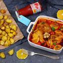 Ćwiartki kurczaka w sosie pomidorowym z nutą pomarańczy i imbiru