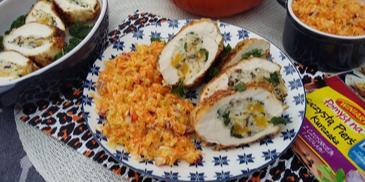Filet z kurczaka faszerowany dynią, dzikim ryżem i jarmużem