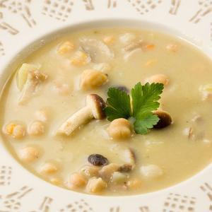 Zuppa di ceci e funghi