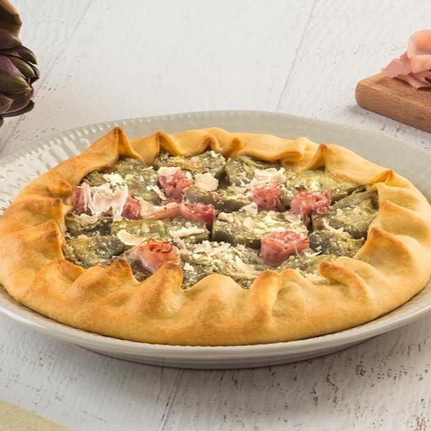 Torta salata con carciofi gratinati