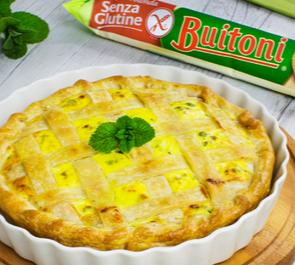 Torta salata con zucchine, asparagi e piselli al profumo di menta
