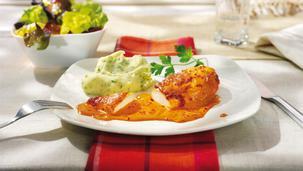 Paprika-Sahne-Hähnchen mit Kräuterpüree