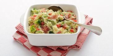 Broccolistamppot met rauwe ham