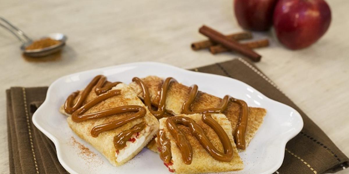 Rollitos de manzana con dulce de leche