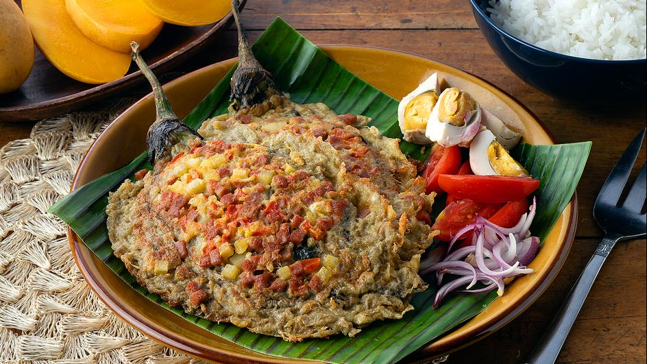 Tortang Talong with Luncheon Meat