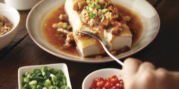 Simple Steamed Silken Tofu With Minced Chicken