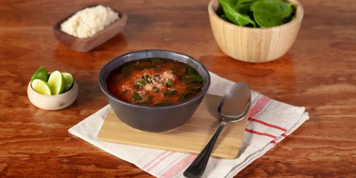 Sopa de quínoa con espinacas