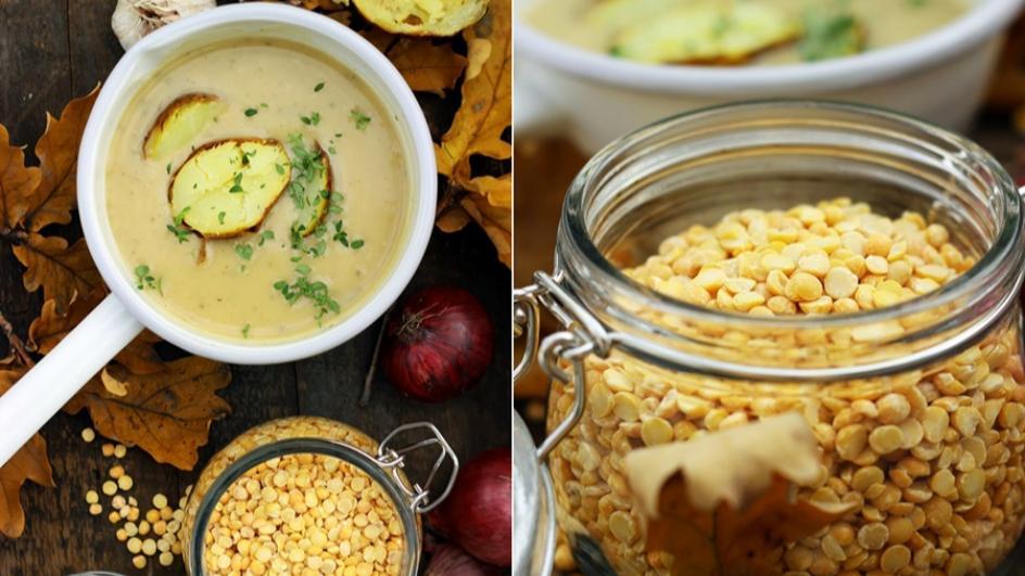 Kremowa zupa grochowa bez mięsa z pieczonym ziemniakiem