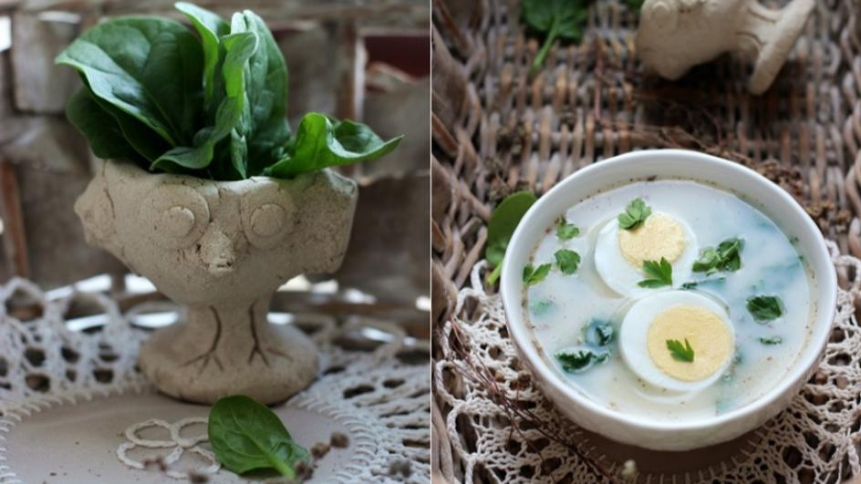 Wiosenny barszcz biały na zakwasie z jajkiem i szpinakiem