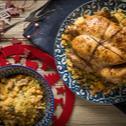 Κοτόπουλο γεμιστό με κους κους και αποξηραμένα φρούτα