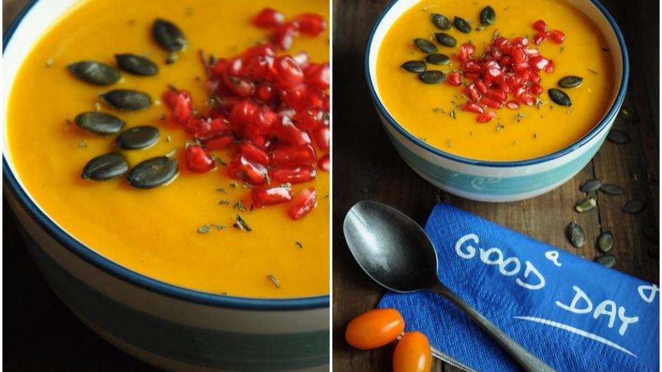 Zupa z dyni z granatem