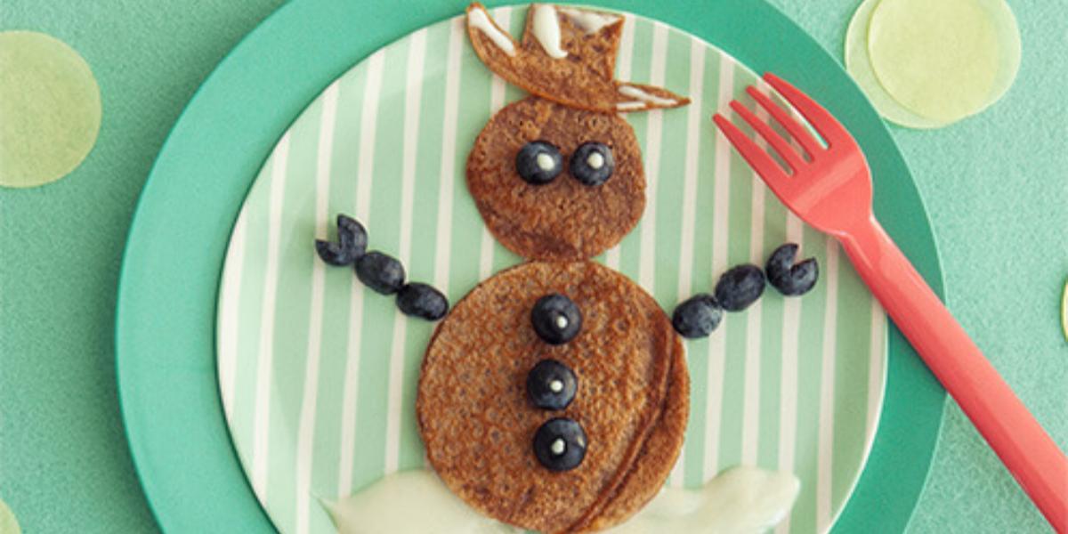 Pancakes en Forma de Muñeco de Nieve